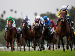 Suggestive Boywith jockey JOE TALAMO up wins the 2013 running of the Arcadia Stakes at Santa Anita Park in Arcadia, California on February 02, 2013.