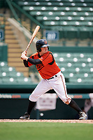 GCL Orioles third baseman Willy Yahn (2) at bat during a game against the GCL Rays on July 21, 2017 at Ed Smith Stadium in Sarasota, Florida.  GCL Orioles defeated the GCL Rays 9-0.  (Mike Janes/Four Seam Images)