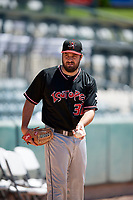 Albuquerque Isotopes starting pitcher Harrison Musgrave (32) warms up in the bullpen before the game against the Salt Lake Bees in Pacific Coast League action at Smith's Ballpark on June 11, 2017 in Salt Lake City, Utah. The Bees defeated the Isotopes 6-5. (Stephen Smith/Four Seam Images)