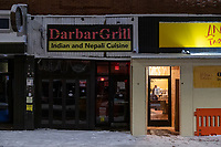 Darbar Grill, in Davis Square, opened in Jan. 2020, and permanently closed in Fall 2020, as restaurants struggled to operate during the ongoing Coronavirus (COVID-19) global pandemic in Somerville, Massachusetts, on Tue., Jan. 26, 2021.