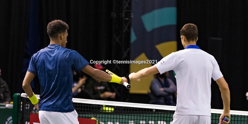 Rotterdam, The Netherlands, 2 march  2021, ABNAMRO World Tennis Tournament, Ahoy, First round doubles: Felix Auger-Aliassime (CAN) / Hubert Hurkacz (POL).<br /> Photo: www.tennisimages.com/henkkoster
