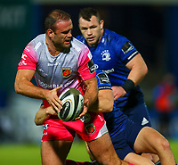 2nd October 2020; RDS Arena, Dublin, Leinster, Ireland; Guinness Pro 14 Rugby, Leinster versus Dragons; Jamie Roberts (Dragons) prepares to offload the ball as he is tackled