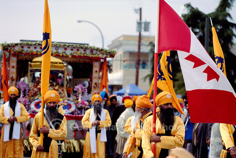 Sikhs marching in East Indian Vaisakhi Parade, Vancouver, BC, British Columbia, Canada - Sikh New Year Celebration