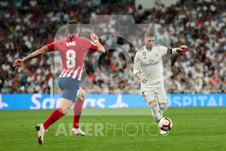 Real Madrid's Sergio Ramos and Atletico de Madrid's Saul Niguez during La Liga match between Real Madrid and Atletico de Madrid at Santiago Bernabeu Stadium in Madrid, Spain. September 29, 2018. (ALTERPHOTOS/A. Perez Meca)