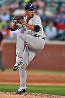 Pensacola Blue Wahoos pitcher Robert Stephenson #17 delivers a pitch during the Southern League All Star game at AT&T Field on June 17, 2014 in Chattanooga, Tennessee. The Southern Division defeated the Northern Division 6-4. (Tony Farlow/Four Seam Images)