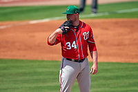 Washington Nationals pitcher Jon Lester (34) during a Major League Spring Training game against the New York Mets on March 18, 2021 at Clover Park in St. Lucie, Florida.  (Mike Janes/Four Seam Images)