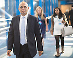 © Joel Goodman - 07973 332324 . 04/10/2016 . Birmingham , UK . SAJID JAVID crosses the bridge from the hotel to the conference venue during the third day of the Conservative Party Conference at the International Convention Centre in Birmingham . Photo credit : Joel Goodman