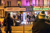 """FRANKREICH, 26.11.2015, Paris.  Der Vorort-Bezirk Saint-Denis ist gepraegt durch seine vielen muslimischen Zuwanderer. Hier liegt das """"Stade de France"""", einer der Orte der Terroranschlaege vom 13.11 und hier lieferte sich die Polizei die schwere Schiesserei mit einigen der beteiligten Islamisten am 18.11. - Polizeieinsatz.   The suburban district of Saint-Denis is characterized by its dense muslim immigrant population. Here """"Stade de France"""" is located, one of the places of the Paris terrorist attacks on Nov. 13 and here the police had a heavy shootout with some of the islamists involved on Nov. 18. - Police raid.<br /> � Arturas Morozovas/EST&OST"""