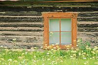 Window detail of a rustic log cabin, Eagle, Alaska