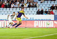 Thursday 08 August 2013<br /> Pictured: Michu of Swansea (R) avoids Johan Dahlin, goalkeeper for Malmo (L) only to shoot wide.<br /> Re: Malmo FF v Swansea City FC, UEFA Europa League 3rd Qualifying Round, Second Leg, at the Swedbank Stadium, Malmo, Sweden.