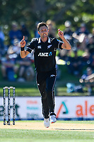 23rd March 2021; Christchurch, New Zealand;  Trent Boult of the Black Caps appeals for a wicket during the 2nd ODI cricket match, Black Caps versus Bangladesh, Hagley Oval, Christchurch, New Zealand.