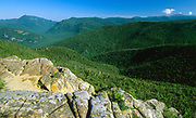 Crawford Notch (left)from the summit of Mount Crawford in the White Mountains, New Hampshire. The Maine Central railroad travels through this notch.