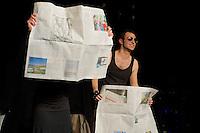 """Die Koelner Theatergruppe """"Noe Theater"""" spielte am Donnerstag den 5 Dezember 29013 im Berliner SO36 ihr Stueck """"V wie Verfassungsschutz"""" in dem die Skandale des bundesdeutschen Verfassungsschutz seit dem Schmuecker-Mord bis zum NSU behandelt werden.<br />5.12.2013, Berlin<br />Copyright: Christian-Ditsch.de<br />[Inhaltsveraendernde Manipulation des Fotos nur nach ausdruecklicher Genehmigung des Fotografen. Vereinbarungen ueber Abtretung von Persoenlichkeitsrechten/Model Release der abgebildeten Person/Personen liegen nicht vor. NO MODEL RELEASE! Don't publish without copyright Christian-Ditsch.de, Veroeffentlichung nur mit Fotografennennung, sowie gegen Honorar, MwSt. und Beleg. Konto:, I N G - D i B a, IBAN DE58500105175400192269, BIC INGDDEFFXXX, Kontakt: post@christian-ditsch.de<br />Urhebervermerk wird gemaess Paragraph 13 UHG verlangt.]"""