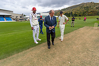 20th November 2020; John Davies Oval, Queenstown, Otago, South Island of New Zealand. Cole McConchie and Roston Chase during the pre-game coin toss