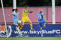 Meghan Schnur (12) of Sky Blue FC makes a save late in the game on a Kristine Lilly (13) of the Boston Breakers shot. Sky Blue FC defeated the Boston Breakers 2-1 during a Women's Professional Soccer match at Yurcak Field in Piscataway, NJ, on May 31, 2009.