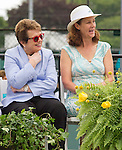 Billie Jean King and Pam Shriver enjoy a laugh  at  the 2015 Induction Ceremony at the International Tennis Hall of Fame, Newport, RI USA. King received her Hall of Fame Ring.  The ceremony took place on July 18, 2015