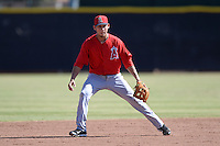 Los Angeles Angels shortstop Erick Salcedo (3) warms up on a side field during an Instructional League game against the Milwaukee Brewers on October 11, 2013 at Tempe Diablo Stadium Complex in Tempe, Arizona.  (Mike Janes/Four Seam Images)