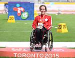 Becky Richter, Toronto 2015 - Para Athletics // Para-athlétisme.<br /> Becky Richter wins gold in the Women's Club Throw F31/32/51 // Becky Richter remporte l'or au lancer du club féminin F31/32/51. 10/08/2015.