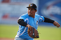 West Virginia Black Bears first baseman Carlos Munoz (56) during practice before a game against the Batavia Muckdogs on August 31, 2015 at Dwyer Stadium in Batavia, New York.  Batavia defeated West Virginia 5-4.  (Mike Janes/Four Seam Images)