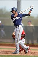 Milwaukee Brewers shortstop Jacob Gatewood (7) during an Instructional League game against the Cincinnati Reds on October 6, 2014 at Maryvale Baseball Park Training Complex in Phoenix, Arizona.  (Mike Janes/Four Seam Images)