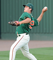Pitcher Robert Morey (22) of the Greensboro Grasshoppers prior to a game against the Greenville Drive on April 26, 2011, at Fluor Field at the West End in Greenville, South Carolina. A fifth-round pick by the Florida Marlins in the 2010 First-Year Player Draft, Morey pitched six shutout innings, giving up three hits to pick up the 11-0 win. (Tom Priddy/Four Seam Images)