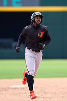 FCL Orioles Orange outfielder Isaac Bellony (53) rounds the bases after hitting a home run during a game against the FCL Braves on July 22, 2021 at the CoolToday Park in North Port, Florida.  (Mike Janes/Four Seam Images)