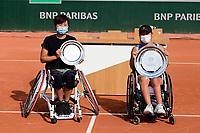 9th October 2020, Roland Garros, Paris, France; French Open tennis, Roland Garr2020;  Ladies singles wheelchair final,  Momoko Othani jpn and winner Yui Kamiji jpn