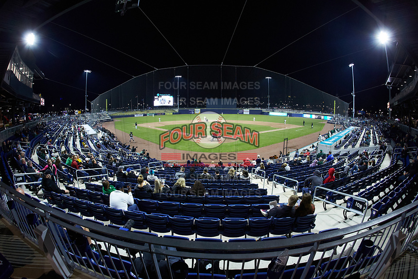 A wide-angle view of Atrium Health Ballpark during an NCAA baseball game between the Appalachian State Mountaineers and the Charlotte 49ers on March 23, 2021 in Kannapolis, North Carolina. (Brian Westerholt/Four Seam Images)
