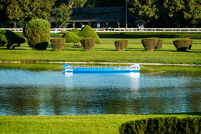 September 04, 2021: The Travers canoe painted in the colors of Godolphin's Essential Quality, winner of the 2021 Travers at Saratoga Race Course in Saratoga Springs, N.Y. on September 4, 2021. Dan Heary/Eclipse Sportswire/CSM