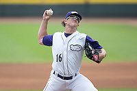 Winston-Salem Dash starting pitcher Carson Fulmer (16) in action against the Wilmington Blue Rocks at BB&T Ballpark on July 29, 2015 in Winston-Salem, North Carolina.  The Dash defeated the Blue Rocks 5-4 in game one of a double-header.  (Brian Westerholt/Four Seam Images)