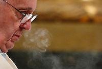 Papa Francesco celebra una messa in occasione dell'apertura della Porta Santa della Basilica di Santa Maria Maggiore a Roma, 1 January 2016.<br /> Pope Francis celebrates a mass on the occasion of the opening of the Holy Door of St. Mary Major Basilica in Rome, 1 January 2016.<br /> UPDATE IMAGES PRESS/Isabella Bonotto<br /> <br /> STRICTLY ONLY FOR EDITORIAL USE