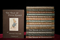 BNPS.co.uk (01202) 558833.<br /> Pic: Zachary Culpin/BNPS<br /> <br /> A remarkable collection of first-edition books by iconic children's author Beatrix Potter which are over 100 years old have emerged for sale.<br /> <br /> The set of 10 story books includes the much-loved classic, the Tale of Peter Rabbit, which has 36 colour illustrations drawn by Potter herself.<br /> <br /> The rustic, finger-marked book is one of the first ever printed and has subtle variations on later editions such as 'wept' instead of 'shed.'
