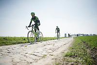 Jack Bauer (NZL/Cannondale-Garmin) & his Team Cannondale-Garmin teammates at the Templeuve (Moulin-de-Vertain) sector<br /> <br /> 2015 Paris-Roubaix recon