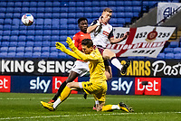 Bolton Wanderers' Eoin Doyle (left) is foiled by Salford City's goalkeeper Vaclav Hladky<br /> <br /> Photographer Andrew Kearns/CameraSport<br /> <br /> The EFL Sky Bet League Two - Bolton Wanderers v Salford City - Friday 13th November 2020 - University of Bolton Stadium - Bolton<br /> <br /> World Copyright © 2020 CameraSport. All rights reserved. 43 Linden Ave. Countesthorpe. Leicester. England. LE8 5PG - Tel: +44 (0) 116 277 4147 - admin@camerasport.com - www.camerasport.com