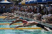 Santa Clara, California - Sunday June 5, 2016: Men's 200 LC Meter Backstroke start at the Arena Pro Swim Series at Santa Clara morning Session.