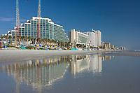 Highrise hotels line beautiful Daytona Beach,Florida. (do) Atlantic Ocean