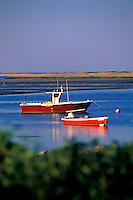 Lobster boat anchored in Nauset Harbor, Orleans, Caope Cod<br />