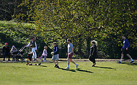 The public continue to leave homes & ignore Government guidelines as the weekend weather remains warm during the Covid-19 Pandemic in which the Government have given strict rules on only leaving the home for essential work, food shopping and one form of exercise per day.<br /> The Rye Park in High Wycombe, Bucks on 5 April 2020. Photo by Andy Rowland.