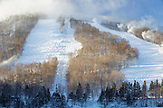 Franconia Notch State Park - Scenic view of Snow making at Cannon Mountains in the White Mountains, New Hampshire.