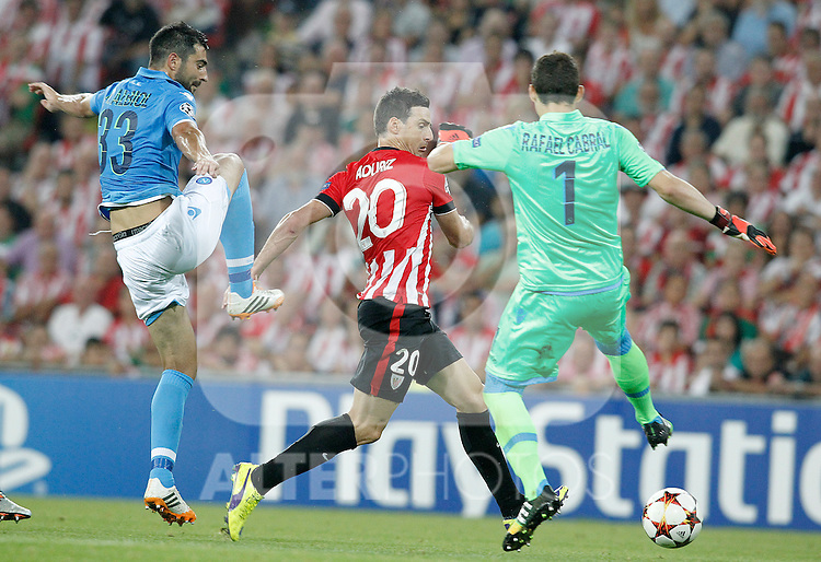 Athletic de Bilbao's Aritz Aduriz (c) and SSC Napoli's Raul Albiol (l) and Rafael Cabral during Champions League 2014/2015 Play-off 2nd leg match.August 27,2014. (ALTERPHOTOS/Acero)