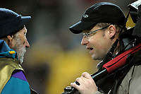 Photographers Peter Bush (left) and Brendon O'Hagen during the 2010 Investec Tri-Nations Series rugby match between the NZ All Blacks and South Africa at Westpac Stadium in Wellington, New Zealand on Saturday, 17 July 2010. Photo: Dave Lintott / lintottphoto.co.nz