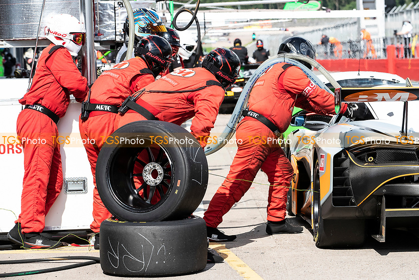 The pit crew re fuel and prepare to re tyre the Stewart Proctor & Lewis Proctor, McLaren 720S GT3, Balfe Motorsport during the British GT & F3 Championship on 11th July 2021