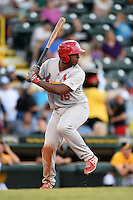 Palm Beach Cardinals catcher Gerwuins Velazco (15) at bat during a game against the Bradenton Marauders on June 23, 2014 at McKechnie Field in Bradenton, Florida.  Bradenton defeated Palm Beach 11-6.  (Mike Janes/Four Seam Images)