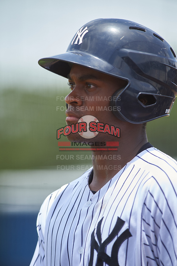 GCL Yankees West center fielder Evan Alexander (7) during the second game of a doubleheader against the GCL Yankees East on July 19, 2017 at the Yankees Minor League Complex in Tampa, Florida.  GCL Yankees West defeated the GCL Yankees East 3-1.  (Mike Janes/Four Seam Images)