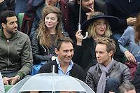 Tarek Boudali, Sarah Suco, Marilou Berry and Cyril Feraud watching tennis during Roland Garros tennis open 2016 on may 29 2016.