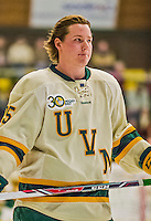 4 January 2014:  University of Vermont Catamount Defenseman Nick Luukko, a Junior from West Chester, PA, skates behind his net prior to facing the Yale University Bulldogs in non-conference play at Gutterson Fieldhouse in Burlington, Vermont. With an empty net and seconds remaining, the Cats came back to tie the game 3-3 against the 10th seeded Bulldogs. Mandatory Credit: Ed Wolfstein Photo *** RAW (NEF) Image File Available ***