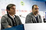 Getafe's new coach Juan Eduardo Esnaider (r) with the General Manager Toni Munoz during his official presentation. April 13, 2016. (ALTERPHOTOS/Acero)