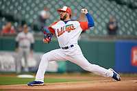 """Buffalo Bisons starting pitcher Shawn Morimando (43) during an International League game against the Scranton/Wilkes-Barre RailRiders on June 5, 2019 at Sahlen Field in Buffalo, New York.  The Bisons wore special uniforms as they played under the name the """"Buffalo Wings"""". Scranton defeated Buffalo 3-0, the first game of a doubleheader. (Mike Janes/Four Seam Images)"""