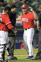 Manager Bobby Jones #31 of the Round Rock Express argues with the umpire against the Oklahoma City RedHawks on April 26, 2011 at the Dell Diamond in Round Rock, Texas. (Photo by Andrew Woolley / Four Seam Images)