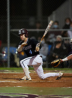 Riverview Rams Kyle Upman (4) bats during a game against the Sarasota Sailors on February 19, 2021 at Rams Baseball Complex in Sarasota, Florida. (Mike Janes/Four Seam Images)